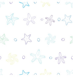 starfish with bubbles in line vector image