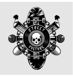 Street culture poster with skull and skateboard vector