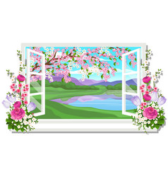 the wooden window overlooking the meadow of green vector image