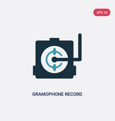 two color gramophone record icon from music vector image