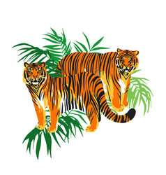 Two graphic tigers standing among the exotic vector