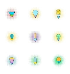Types of lamps icons set pop-art style vector