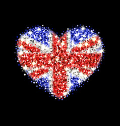 united kingdom flag sparkling heart badge vector image