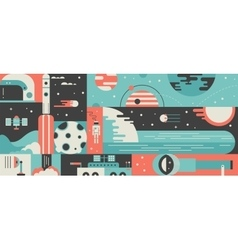 Universe rocket design background concept vector image