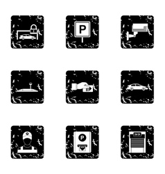 Valet parking icons set grunge style vector