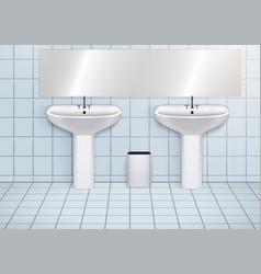 Wc washroom with washbasins vector