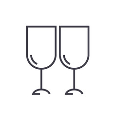 Wine glasses winery line icon sign vector