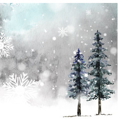 Winter christmas hand-painted watercolor card vector