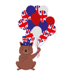 Wombat with hat and balloons australian flag vector