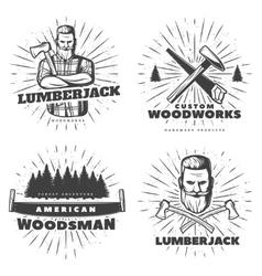 Woodsman Sunburst Emblem Designs vector image