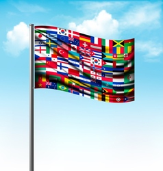 World flags on a big flag vector