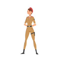 Young woman soldier or officer in khaki combat vector