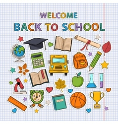 Back to school set on the notebook sheet vector image vector image