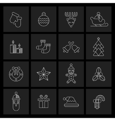 Christmas icons set outline vector image vector image