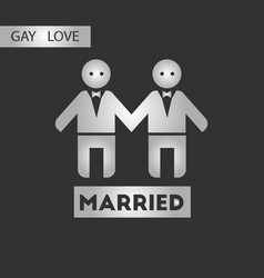 Black and white style icon gays wedding vector