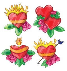 Cartoon hearts with fire for design vector image vector image