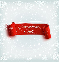 christmas sale red realistic paper ribbon on vector image