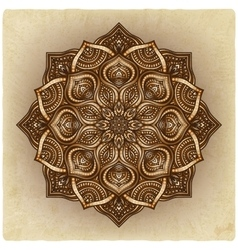 floral brown round ornament vector image