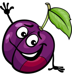 funny plum fruit cartoon vector image vector image