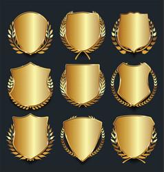 golden shield retro design vector image