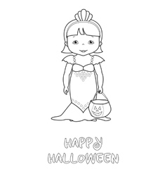 Happy halloween coloring page with cute mermaid vector image