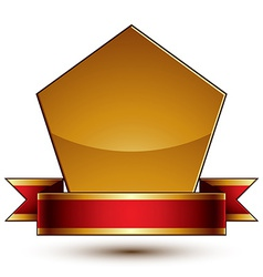 Heraldic template with golden outline 3d royal vector