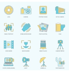 Photography icons flat line vector image
