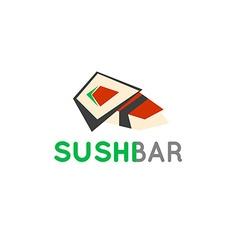 Sushi cafe or sushi bar logo Sushi with fresh tuna vector image