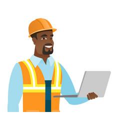 african-american builder using laptop vector image