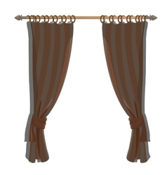 Brown kitchen curtains on the ledge decor vector
