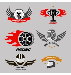 Car racing badges and motorcycle service vector image
