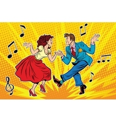 Couple man and woman dancing vintage dance vector