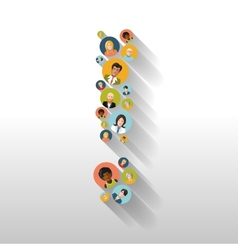 Exclamation mark made up of people with avatars vector image