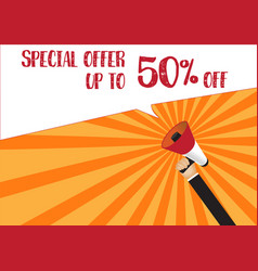 hand holding megaphone to speech - special offer vector image