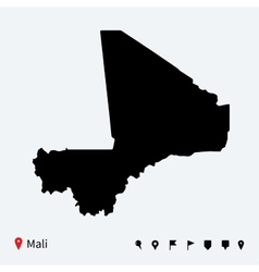 High detailed map of Mali with navigation pins vector image vector image