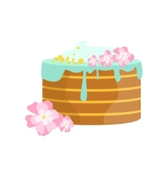 Layered cake with blue icing decorated big special vector