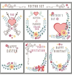 Retro card with floral decorCute Holiday set vector image