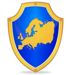 shield with silhouette of europe vector image vector image