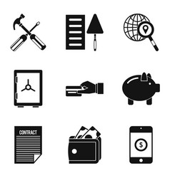 trade union icons set simple style vector image vector image