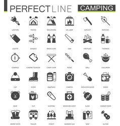 black classic web hiking and travel camping icons vector image vector image