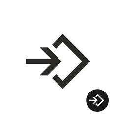 enter or login black simple icon vector image