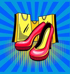 high heeled woman shoes pop art vector image vector image