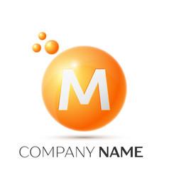 M letter splash orange dots and circle bubble vector
