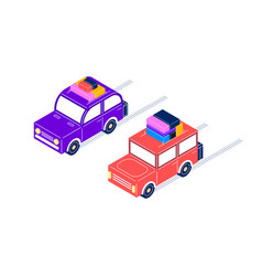 retro cars ride with luggage in isometric style vector image