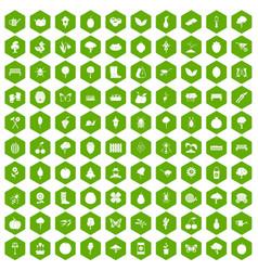 100 gardening icons hexagon green vector