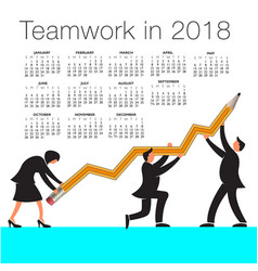 2018 calendar with a teamwork graphic vector image