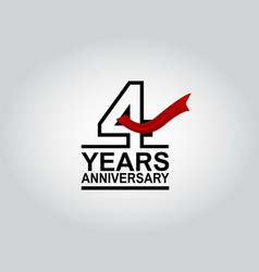 4 years anniversary logotype with black outline vector