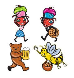 Animals with food mascot cartoon set vector