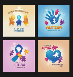 Autism world awareness day posters with puzzle vector