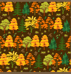 autumn forest trees pattern a woodland background vector image